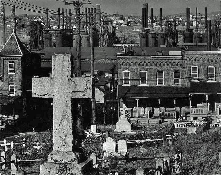 Graveyard and Steel Mill Walker Evans 1935 cropped