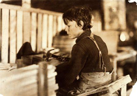 Lewis W. Hine Boy making melon baskets, Evansville, Indiana, 1908 b