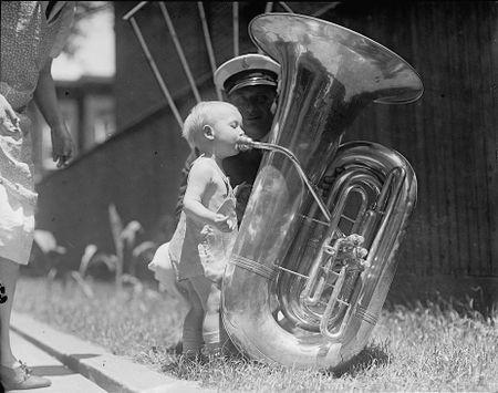 Baby and a tuba