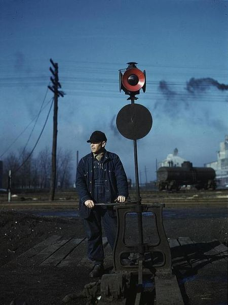 Daniel Sinise throwing a switch atn an Indiana Harbor Belt Line railroad yard Jack Delano 1943