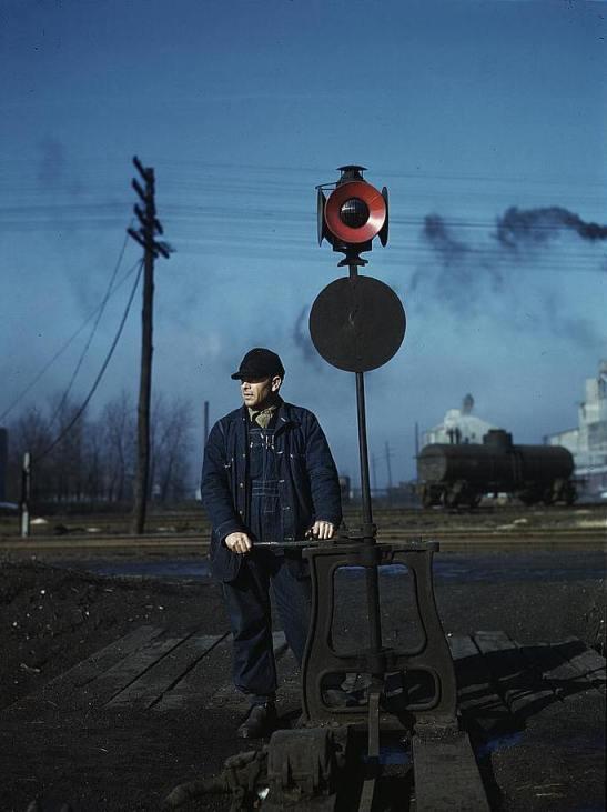 Daniel Sinise throwing a switch atn an Indiana Harbor Belt Line railroad yard Jack Delano 1943