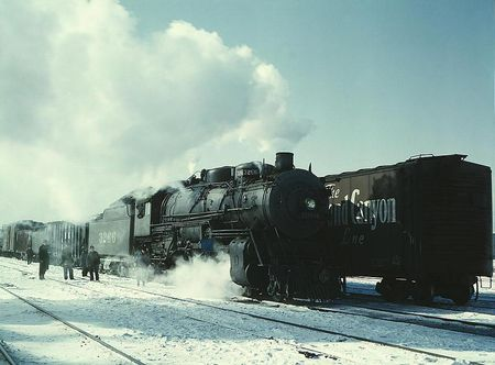 Santa Fe R.R. freight train about to leave for the West Coast from Corwith yard, Chicago, Ill Jack Delano 1943