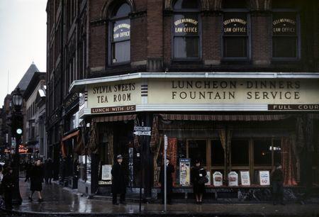 Sylvia Sweets Tea Room, corner of School and Main streets, Brockton, Massachusetts Jack Delano 1941