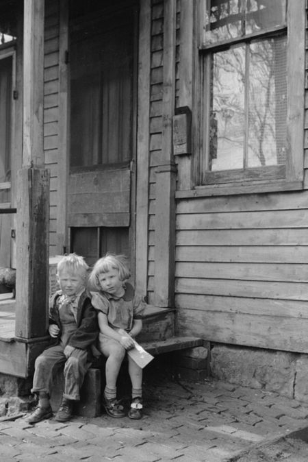 Children who live in the slums, Dubuque, Iowa John Vachon April 1940 red