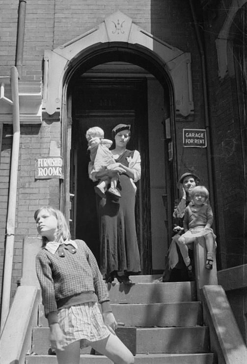 Front of a typical house offering furnished rooms for rent, District of Columbia Carl Mydans 1935