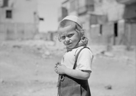 American Colony Jerusalem Little boy. Moshe & Shlomo go to Wailing Wall with their father 1934 39