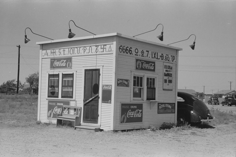 Hamburger stand with old brands, Dumas, Texas russell lee 1939