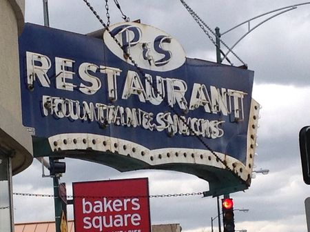 old neon sign P & S restaurant chicago