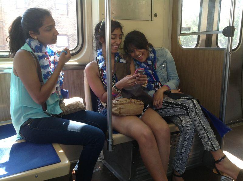 Beaded girls on train