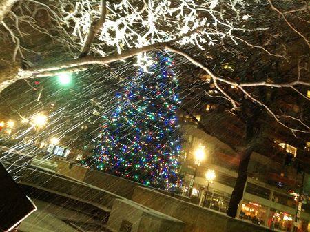 Christmas tree New Year's Eve snow