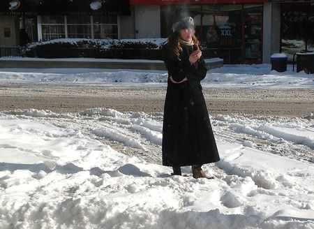 smoker in the snow