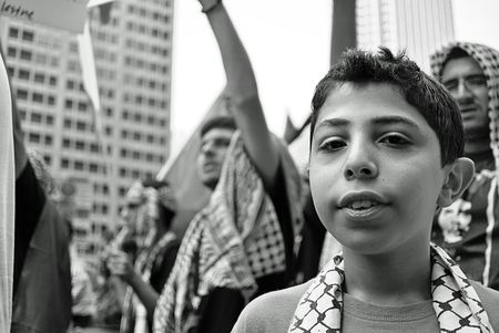 A young boy at the Palestinian Gaza Protest in Chicago