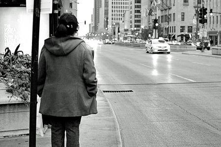 Black and white Michigan Avenue Chicago