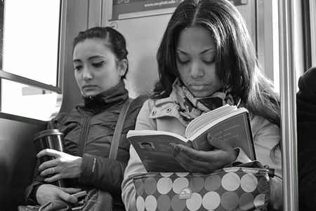 Chicago L Train reading The Curious Incident of the Dog in the Night Time