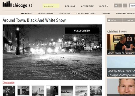 Black and white snow shot Chicago featured in Chicagoist