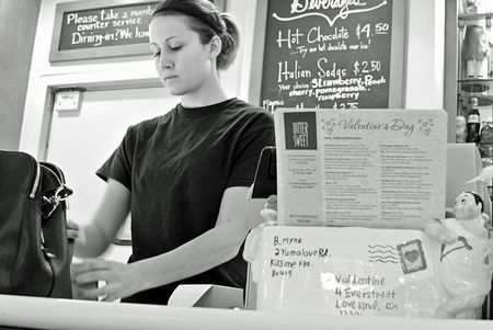 Bittersweet Pastry Shop, Chicago black and white candid photo