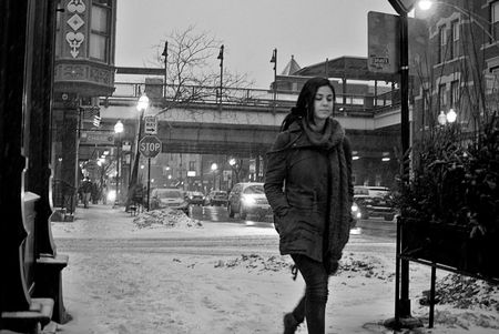 Snowfall Chicago black and white on armitage