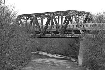 Bridge over icy river