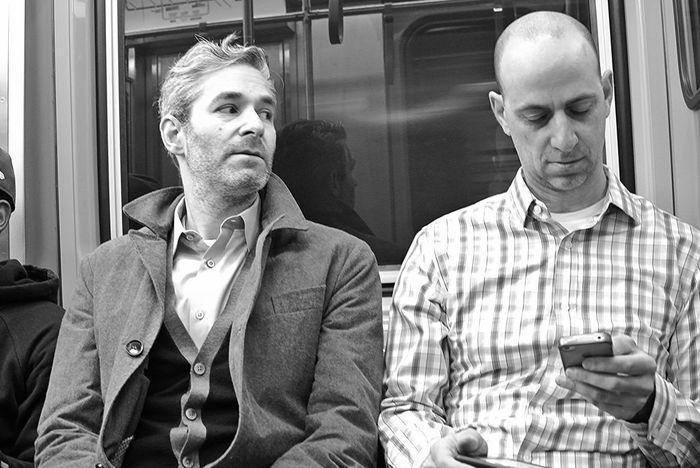 subways of chicago, black and white passengers