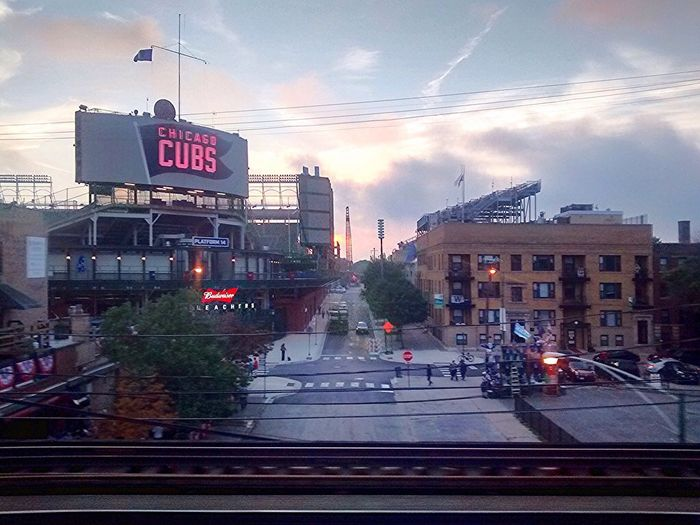 Wrigly Field Chicago Sunset