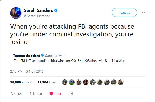 Sarah Huckabee Sanders Tweet Aged Very Badly
