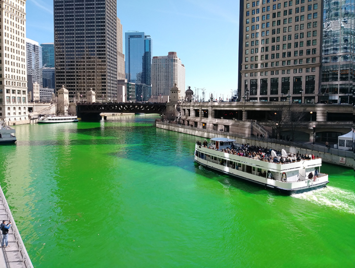 Chicago River Greem Day After St. Patrick's Day