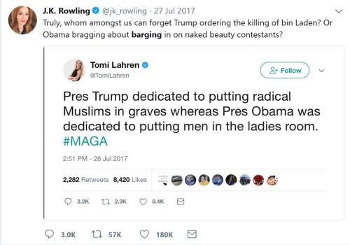 JK Rowling vs Tomi Lahren